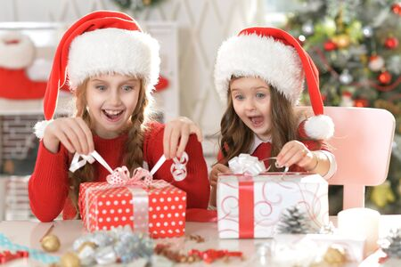 hapy: Portrait of two hapy sisters in Santa hats with Christmas gifts