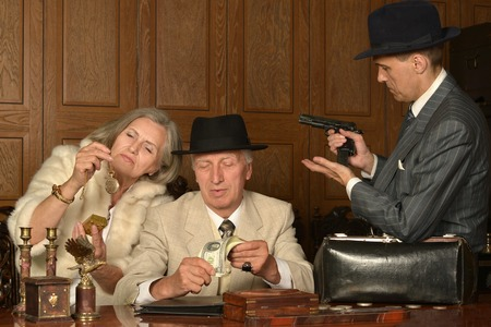 Gangsters companions on the table in retro style