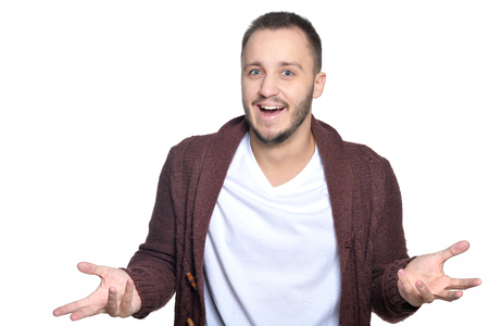 Portrait of exited young man isolated on white background