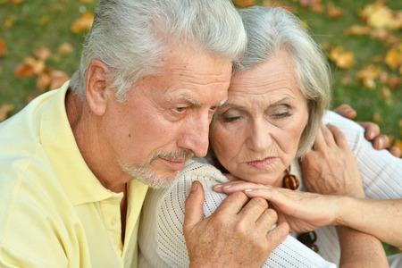 lamentable: Thoughtful senior couple Stock Photo