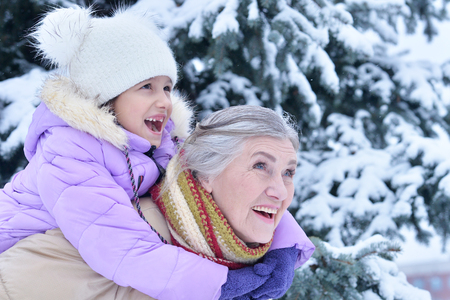 have on: grandmother and granddaughter have fun
