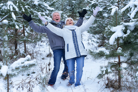 to have: happy mature couple have fun