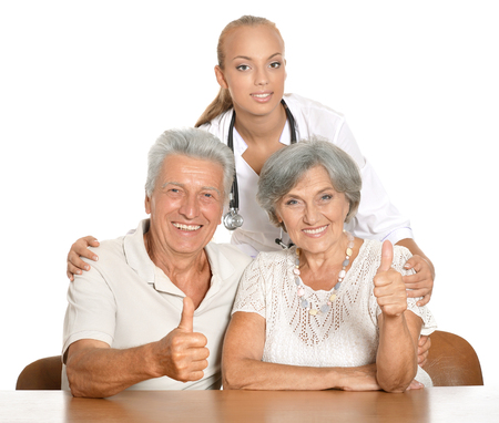 nurse with her patients Stock Photo