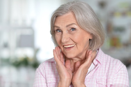 mature woman portrait happy ang smiling Stock Photo