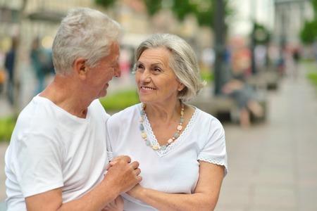 beautiful elderly couple outdoor