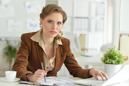 attractive  female: Businesswoman working in the office