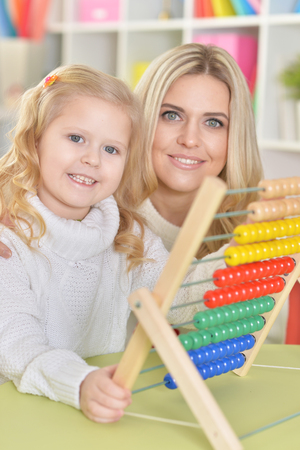 mother with little daughter Stock Photo