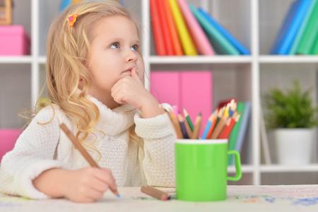 cute little girl drawing