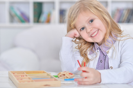 little girl playing Stock Photo
