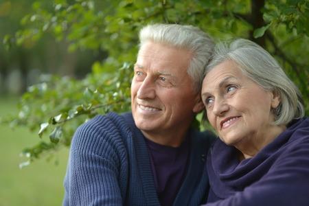 stroll: Happy beautiful elderly couple