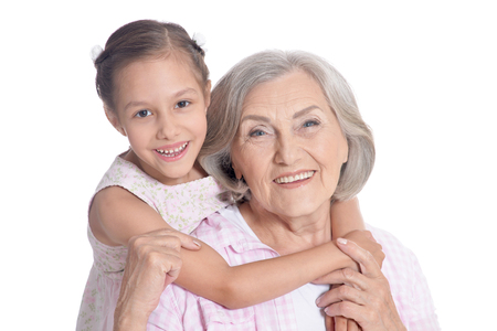 the grand daughter: Grandmother and little granddaughter