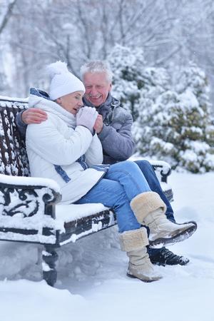 Elderly couple in winter Stock Photo