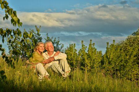 Happy senior couple outdoors Stock Photo