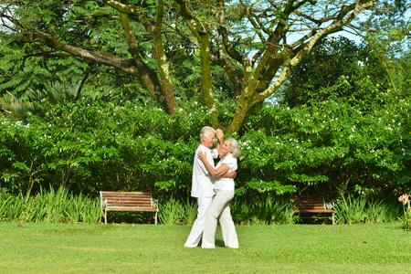 Senior couple resting outdoors