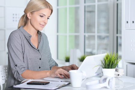 woman working with laptop