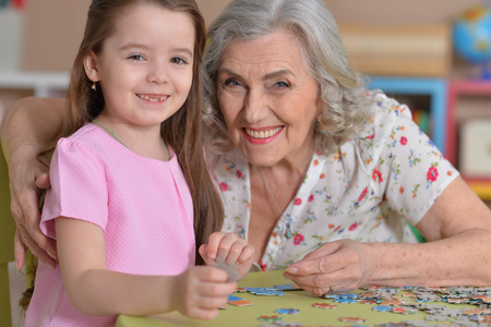 Grandmother collecting puzzle