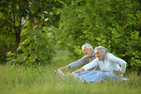 senior couple doing exercises Stock fotó