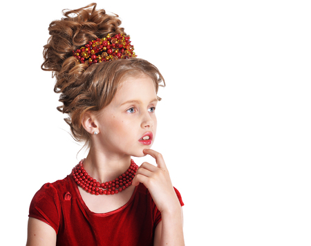 little girl with retro hairstyle Stock Photo
