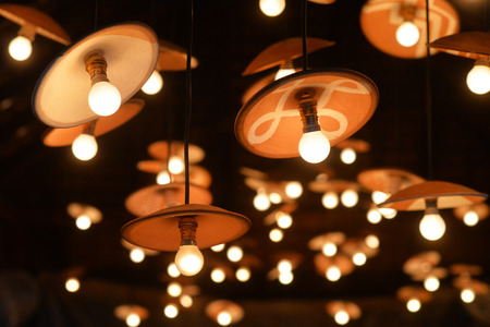 Many light bulbs with lusters close up