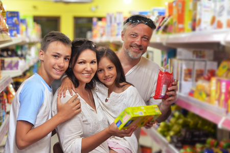 family choosing dairy products