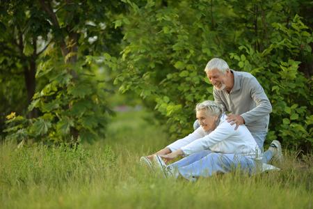 senior couple doing exercises Banque d'images