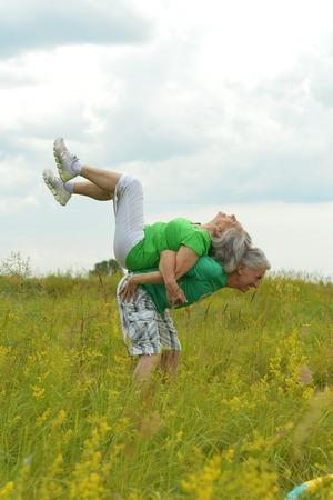 senior couple having fun Stock Photo