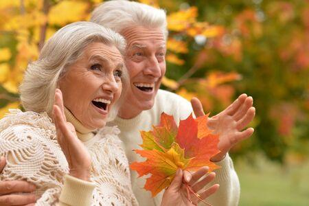 portrait of beautiful caucasian senior couple hugging   in the park Stock Photo