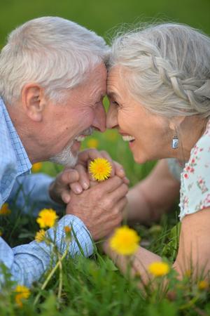 senior couple lying on meadow Stockfoto