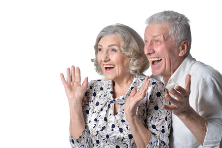 happy  senior couple posing Stock Photo