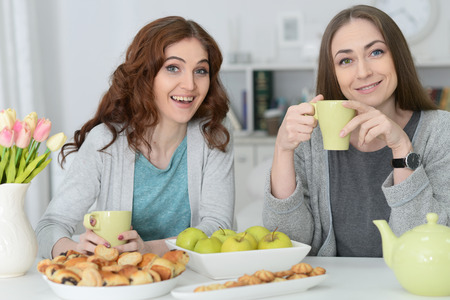 Two smiling female friends sitting at table
