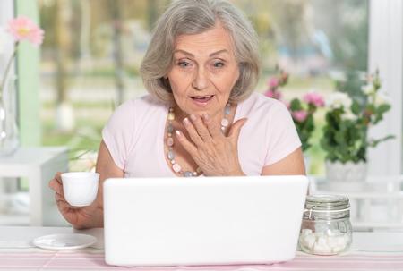 Senior woman working with laptop Stock Photo