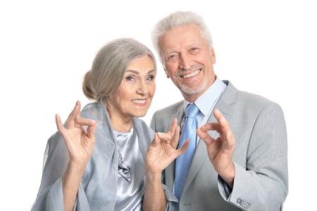 senior couple showing thumbs up Stock Photo