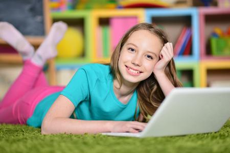 girl using modern laptop