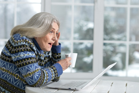 Senior woman working with laptop Stock Photo