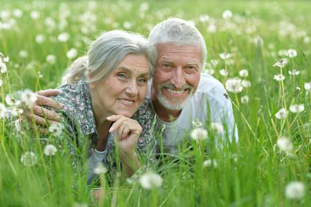 happy senior couple lying on green meadow Stock Photo