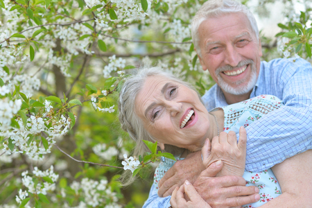 portrait of beautiful caucasian senior couple Stock Photo