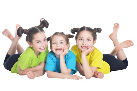 portrait of cute little girls posing on white background Stock fotó