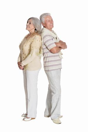 Portrait of senior couple posing on white background 版權商用圖片