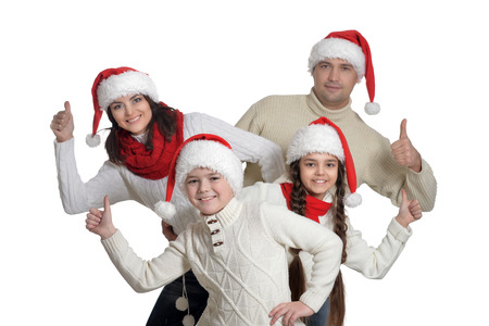 Family with kids with thumbs up on white background Banque d'images - 110627577