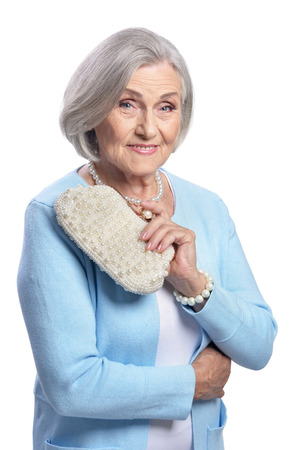 Portrait of beautiful senior woman on white background Banque d'images - 111659509