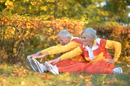 Portrait of cute senior couple doing exercises