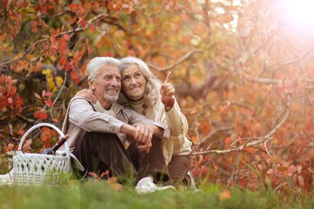 Portrait of a cute senior couple outdoors