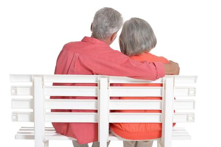 senior couple posing  isolated