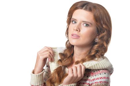 portrait of beautiful woman posing on white background