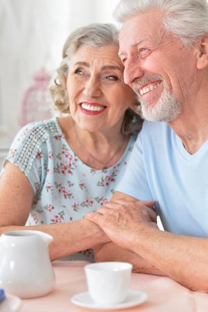 Portrait of happy Senior couple drinking tea Stock Photo