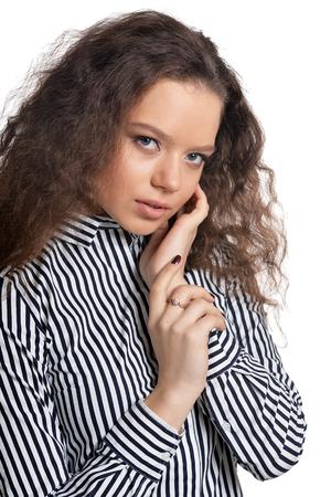 Close up portrait of beautiful young woman posing 免版税图像