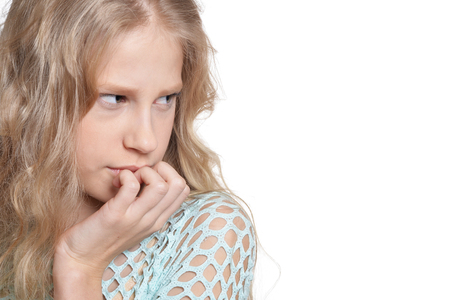 close up portrait of blonde girl on white background Stock Photo