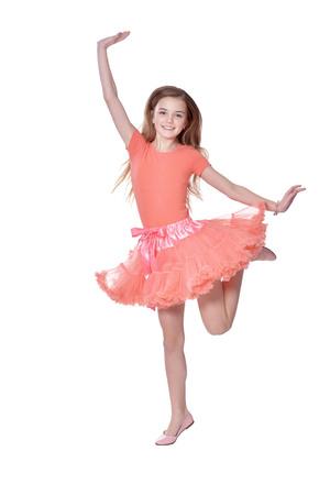 Happy little girl  in dress posing