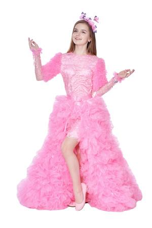 Happy little girl in carnival costume  posing