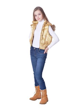 Happy little girl in jeans  posing